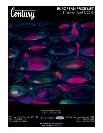 Century Video Euro Price List - Schneider Optics