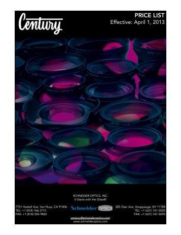 Century Video Price List - Schneider Optics