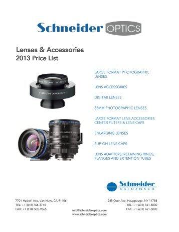 Photo Lens Price List - Schneider Optics