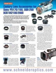 Century Lens Accessories For Sony PD170/150 ... - Schneider Optics
