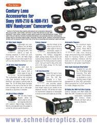 Accessories for Sony HVR-Z1U & HDR-FX1 HDV ... - Schneider Optics