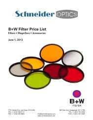 B+W Filter Price List - Schneider Optics
