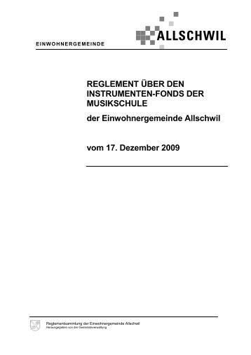 Instrumentenfonds der Musikschule, Reglement - Gemeinde Allschwil