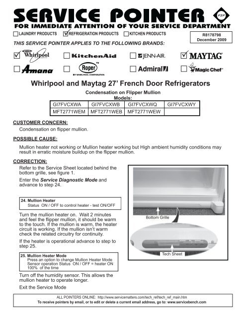 Whirlpool and Maytag 27' French Door Refrigerators