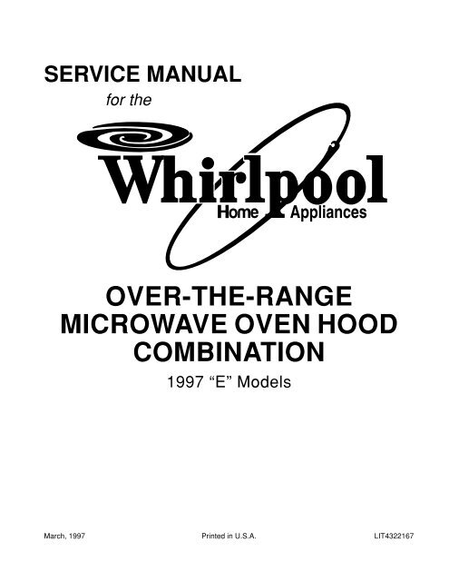 Over-the-range microwave oven hood combination - Whirlpool