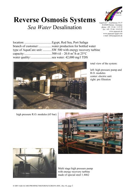 Reverse Osmosis Systems Sea Water Desalination