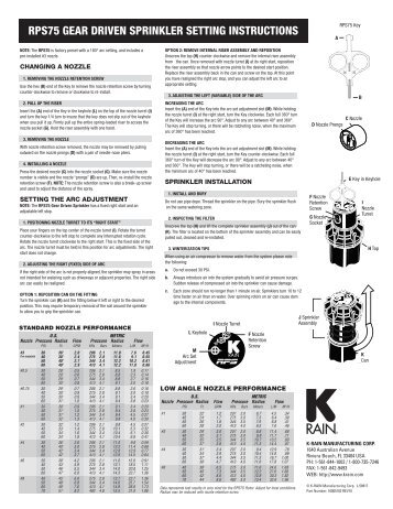 RPS75 GEAR DRIVEN SPRINKLER SETTING INSTRUCTIONS