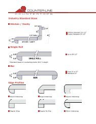 Industry Standard Sizes Kitchen / Vanity Single Roll Bar Edge Profiles