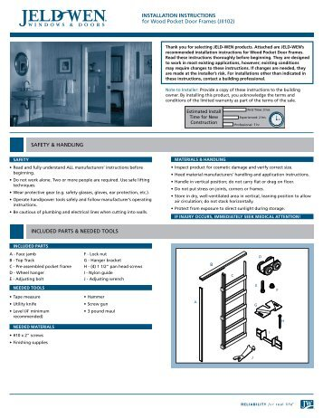 INSTALLATION INSTRUCTIONS for Wood Pocket Door Frames ...