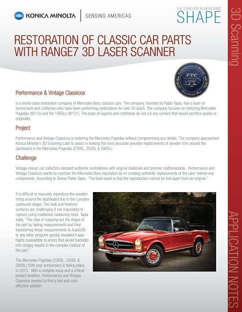 Restoration of Classic Car Parts With RANGE7 3D Laser
