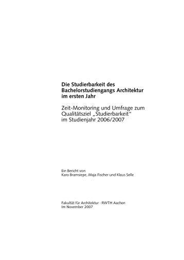 Evaluierung | Studierbarkeit B A 1 - RWTH Aachen