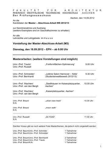 Masterthemen WiSe 2012/13 - RWTH Aachen