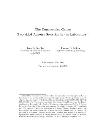 Two-sided Adverse Selection in the Laboratory - sgfm.elcorteing...
