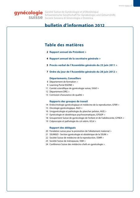 Bulletin d'information 01/2012 - SGGG