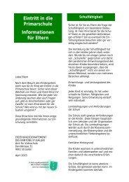 Eintritt in die Primarschule Informationen für Eltern