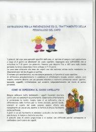 istruzioni per la prevenzione ed il trattamento della pediculosi del capo
