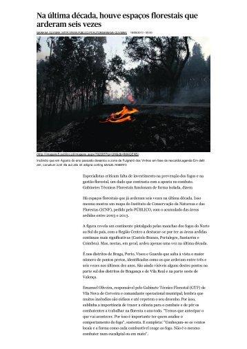 Na última década, houve espaços florestais que arderam seis vezes
