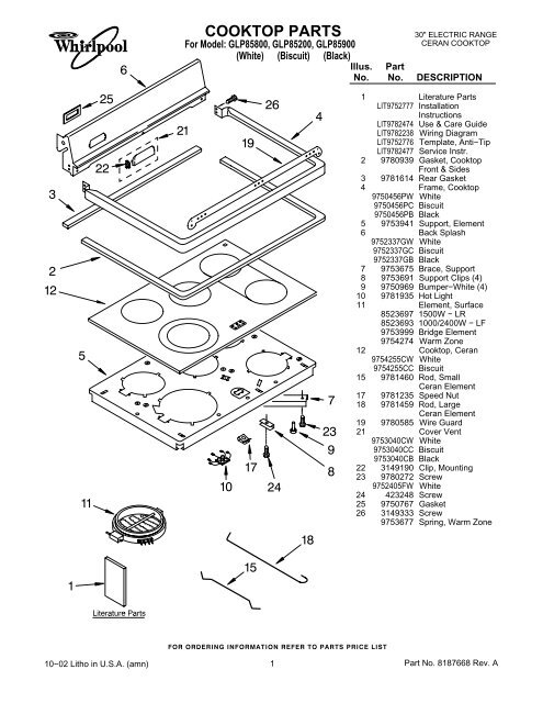Cooktop Parts Kitchenaid