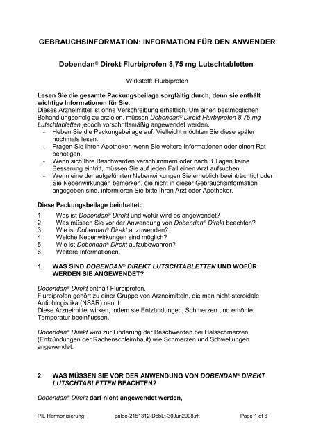 INFORMATION FÜR DEN ANWENDER Dobendan® Direkt ...
