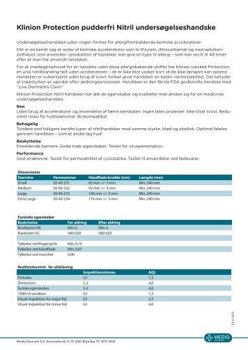 Klinion Protection Nitril handske datablad - Mediq Danmark A/S