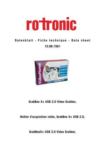 Fiche technique - Data sheet GrabBee X+ USB 2.0 Video Grabber ...