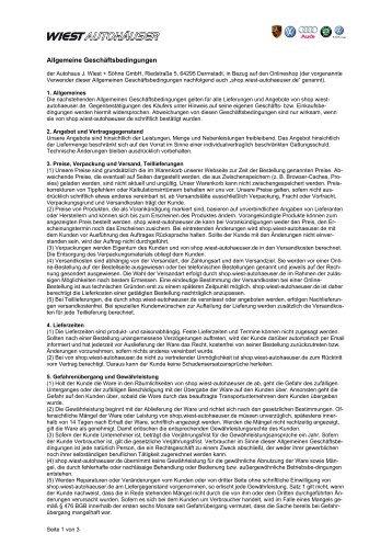 AGB als PDF-Dokument herunterladen - Online-Shop der Wiest ...