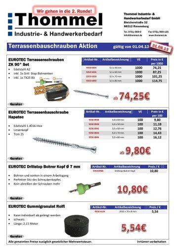 Terrassenbauschrauben Aktion - Thommel I & H GmbH