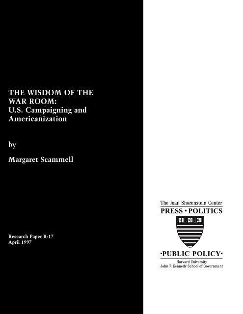 THE WISDOM OF THE WAR ROOM: U.S. Campaigning ... - CiteSeerX
