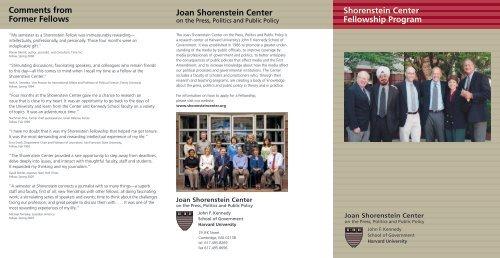 Fellowship brochure [pdf] - Joan Shorenstein Center on the Press ...