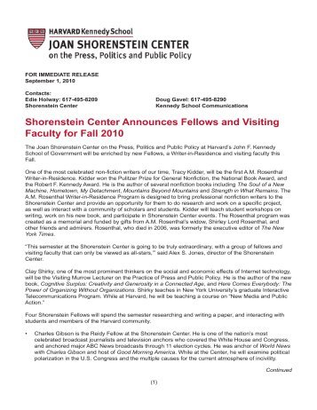 press release - Joan Shorenstein Center on the Press, Politics and ...