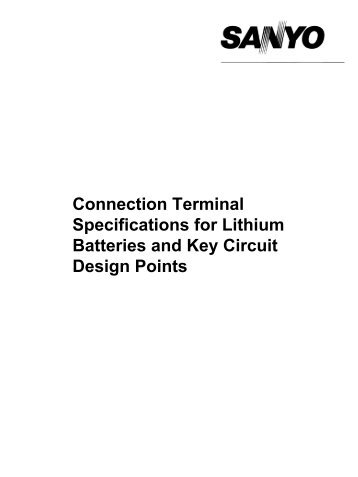 Connection Terminal Specifications for Lithium Batteries ... - Mercateo