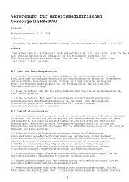 Verordnung zur arbeitsmedizinischen Vorsorge ... - Sichere Kita