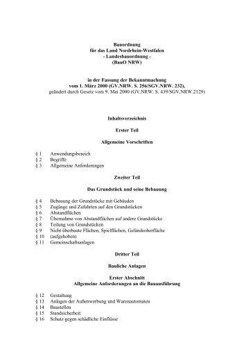 Landesbauordnung - (BauO NRW) - Sichere Kita