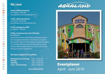 Eventplaner April - Juni 2010 - Aqualand
