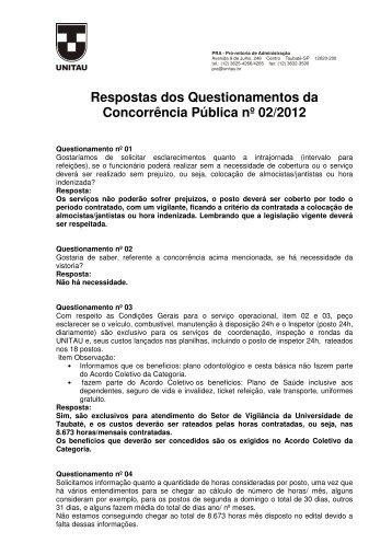 Respostas dos Questionamentos da Concorrência Pública ... - unitau