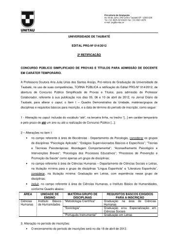 ii retificação do edital prg-nº 014/2012 - unitau