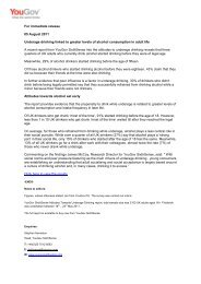 For immediate release 05 August 2011 Underage drinking linked to ...