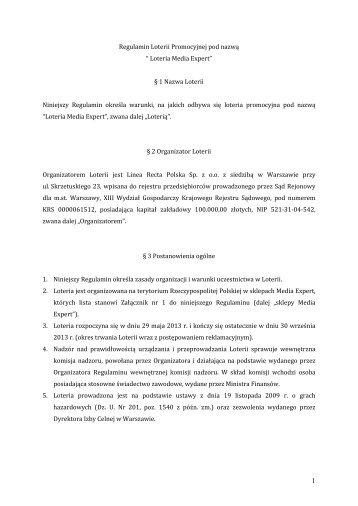 Regulamin Loterii Promocyjnej pod nazw? ? Loteria ... - Mediaexpert.pl