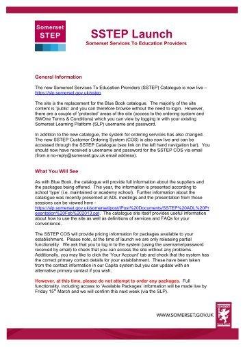 SSTEP Launch - Somerset Learning Platform