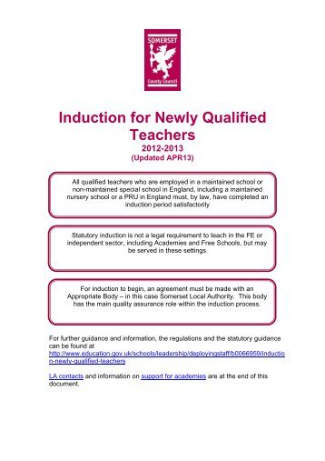 Induction for newly qualified teachers - Somerset Learning Platform ...