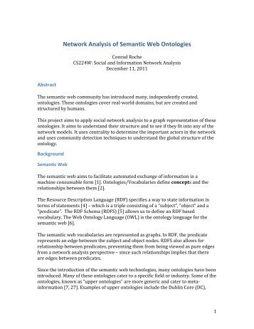Network Analysis of Semantic Web Ontologies - SNAP