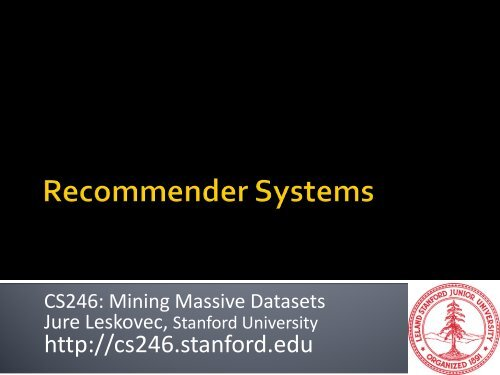 Recommender system - SNAP - Stanford University