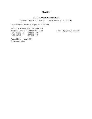 Short CV JAMES JOSEPH McMAHON - Facultatea de Stiinte Socio ...