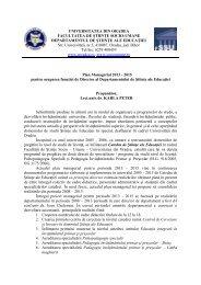 PROGRAM MANAGERIAL - Facultatea de Stiinte Socio-Umane ...
