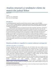 Analiza structurii şi tendinţelor ofertei de muncă din judeţul Bihor