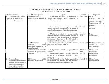 Planul operaţional al Facultăţii de Ştiinţe Socio-Umane ...