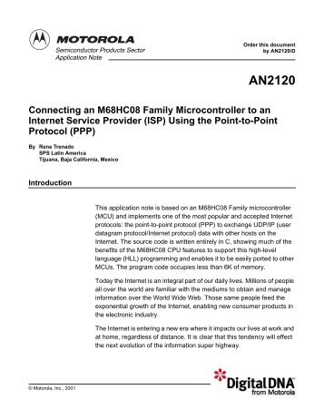 AN2120: Connecting an M68HC08 Family Microcontroller to an ...