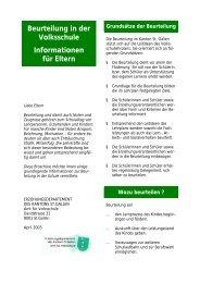 Beurteilung in der Volksschule Informationen für Eltern