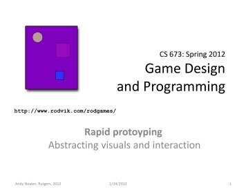 Game Design and Programming - Sakai