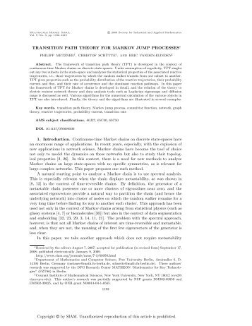 Metzner, P., Schutte, C. and Vande-Eijnden, E. Transition ... - Sakai